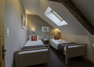 Chambre d'hôtel confortable avec 2 lits d'1 personne